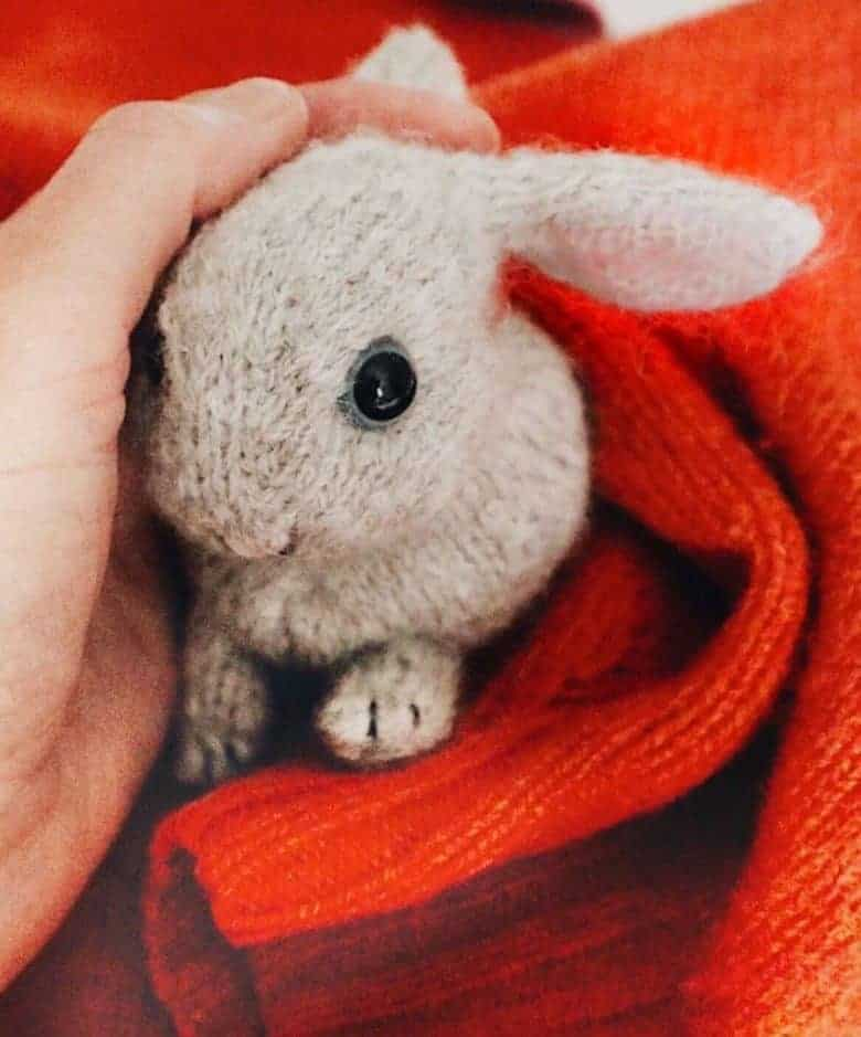 little baby bunny rabbit knitting pattern by claire garland dot pebble knits easy to make in soft grey wool #knitting #pattern #bunny #rabbit #easy #tutorial