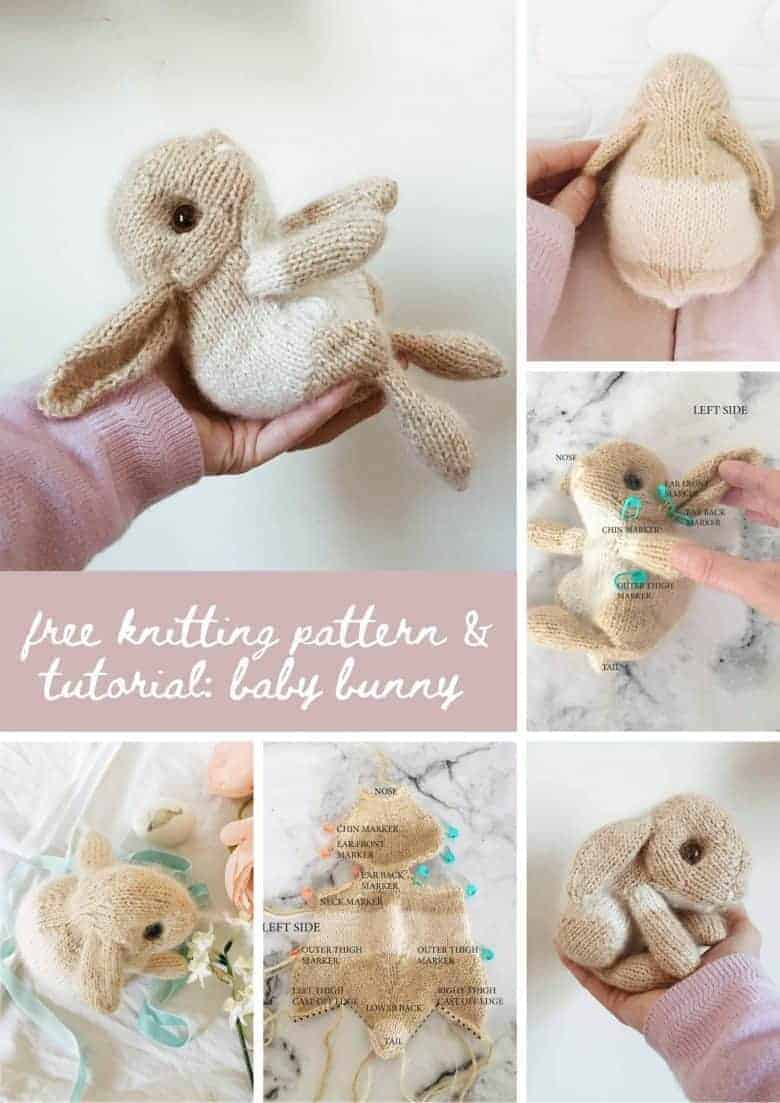 bunny rabbit free download PDF knitting pattern and tutorial: How to knit an easter bunny. Click through for easy step by step tutorial and free knitting pattern to make a knitted baby bunny rabbit. Get tips and all the info you need to make your own #easterbunny #knittingpattern #knittingideas #easter #bunnyrabbits #tutorial #freeknittingpattern #frombritainwithlove