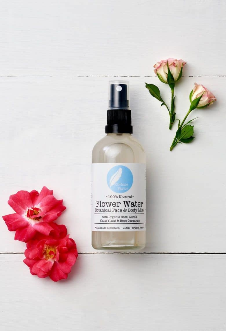 love this flower water facial mist toner spray made using organic natural ingredients including rose and neroli waters, aloe vera, rose geranium essential oil and ylang ylang as well as witch hazel to calm, soothe, balance and tone your skin. click through to find out more and to discover other ethical beauty natural skincare hand made in Britain that will care for your skin and also the planet #ethicalbeauty #ethicalskincare #naturalskincare #naturalbeauty #handmade #frombritainwithlove #aromatherapy #essentialoils #madeinbritain