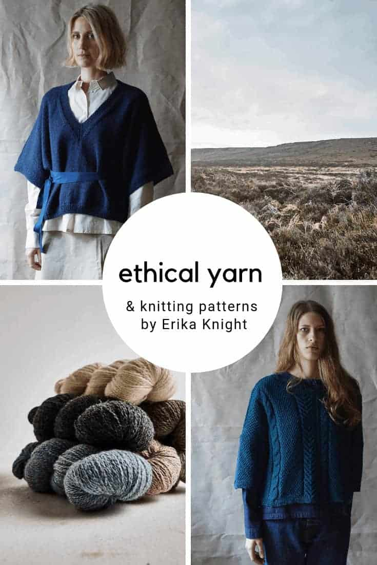 love erika knight ethical british yarns and wools and simply stylish knitting patterns. Click through for all the details you need to connect with Erika and to find the ethical yarns and knitting patterns for your own creative knitting projects #knittingpatterns #erikaknight #ethicalyarn #wool #knittingprojects #frombritainwithlove