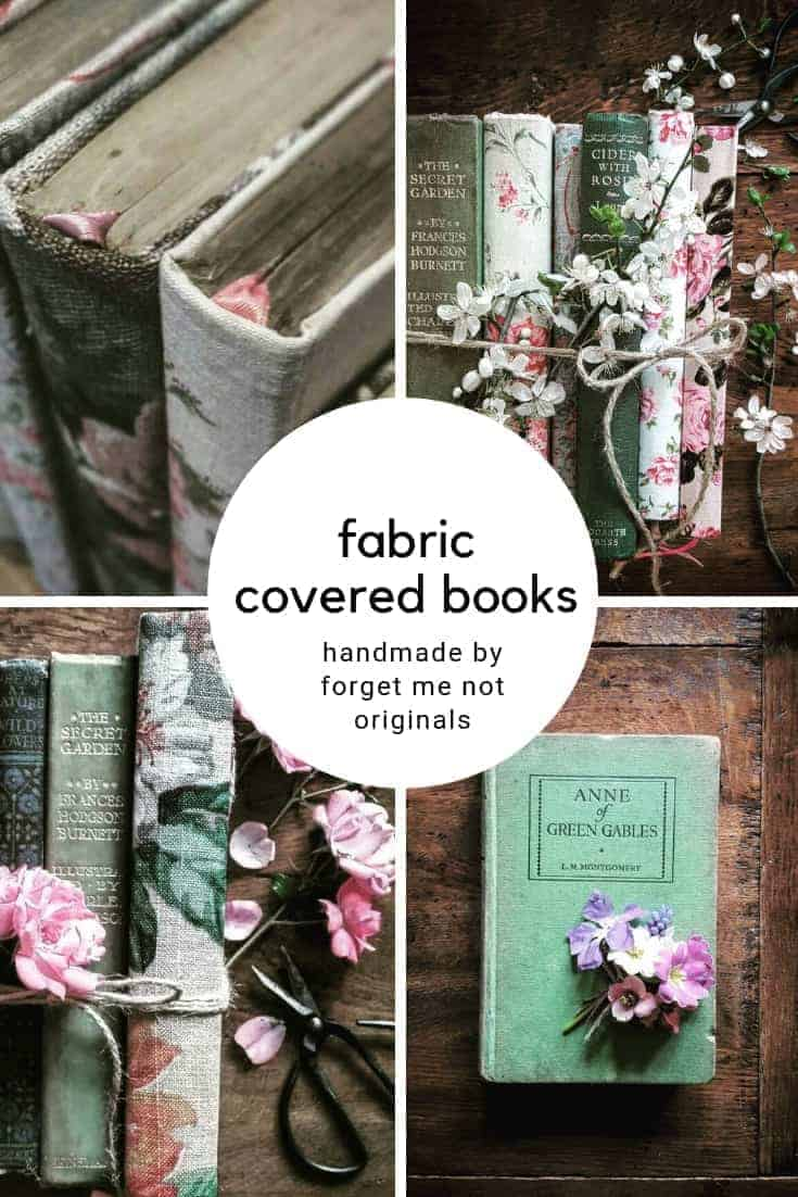 love these vintage fabric re covered old books and classic novels and notebooks handmade by Forget me Not Originals - like Jane Austen, the Brontes, Daphne du Maurier, Louisa May Alcott and more. Click through to get all the details you need to buy the perfect handmade ethical and upcycled gift #upcycled #janeausten #brontes #anneofgreengables #littlewomen #handmadegifts #frombritainwithlove
