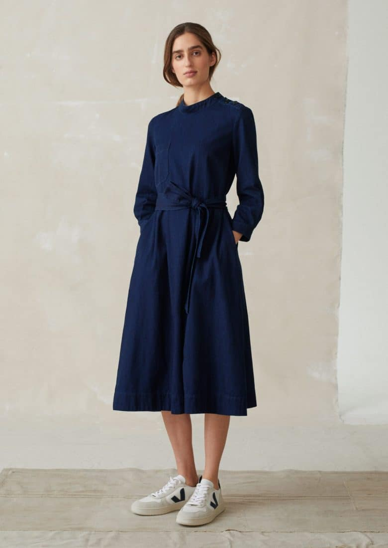 toast OAS workwear collection twill shirt dress in dark navy