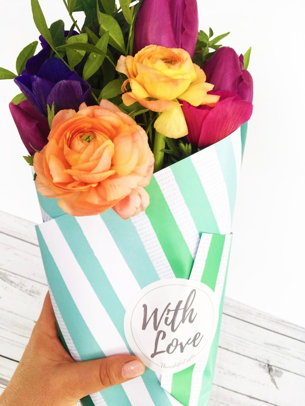 With-Love-Green-Stripes-flower-gift-wrap
