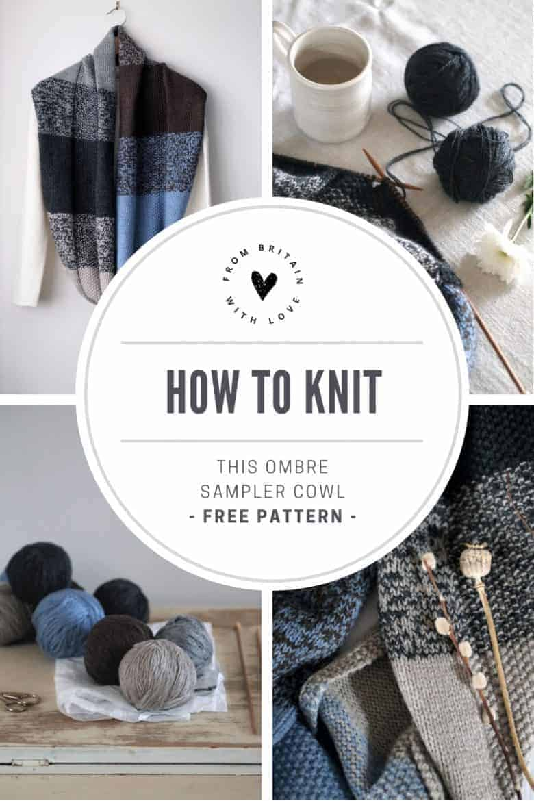 How to knit an ombre cowl scarf. Click through for easy step by step tutorial and free knitting patter to make a knitted sampler scarf. Click through to get tips and all the info you need to make your own #ombre #scarf #knittingpattern #knittingideas #cowl #tutorial #freeknittingpattern #frombritainwithlove
