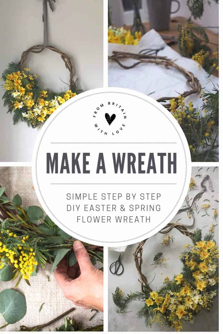 Click through for easy step by step DIY tutorial by Bex of Botanical Tales to make a fresh flower spring wreath for easter. Love the yellow mimosa, eucalyptus and spring flowers like narcissi and daffodils with the willow wreath and asymmetrical contemporary design. Find out how to make your own beautiful easter flower wreath #springflowers #wreath #howtomake #DIY #tutorial #easter #frombritainwithlove