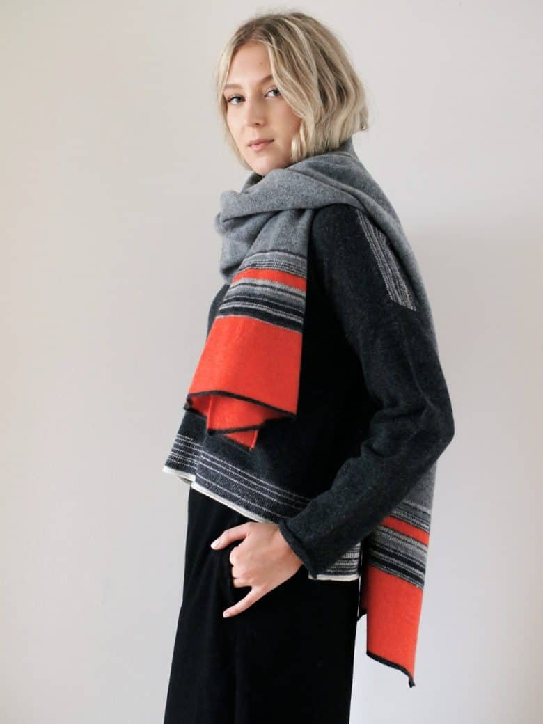 jules hogan coral and grey wool wrap knitted in the uk by british designer maker jules hogan