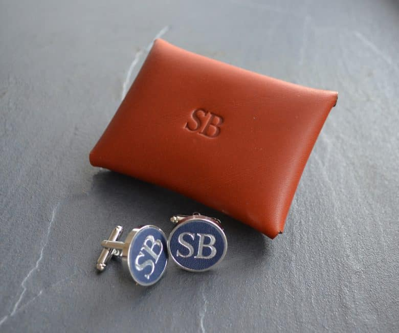 bond and knight handmade natural ethical vegetable leather cufflinks personalised