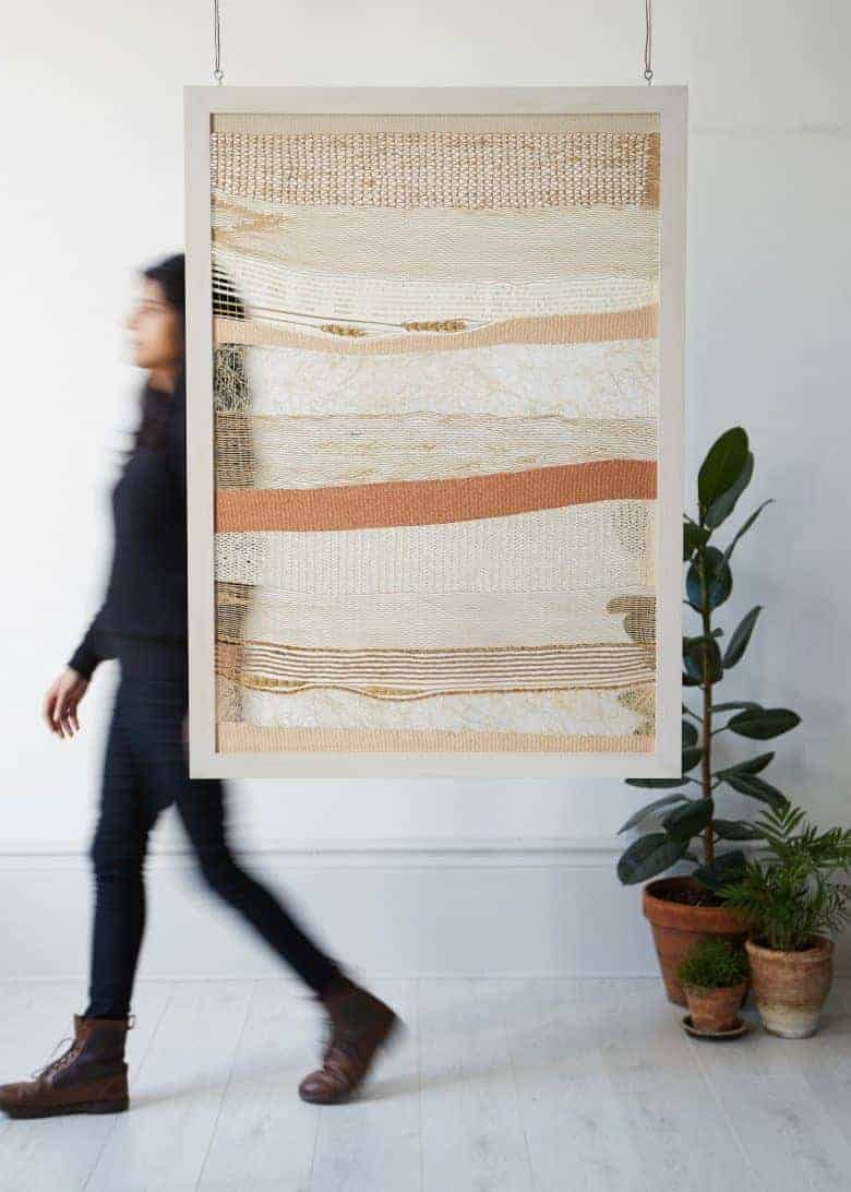 Creative business success depends on great photography and I love this photograph by yeshen venema of textiles artist Rachna Garodia showing her woven artwork wall hanging in a simple, contemporary setting. Click through for 10 essential tips and creative business ideas to help you make a living from doing what you love #creativebusiness #businessadvice #tips #ideas #experthelp #creatives #frombritainwithlove