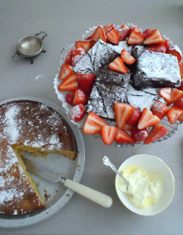 english strawberries, chocolate cake and clotted cream