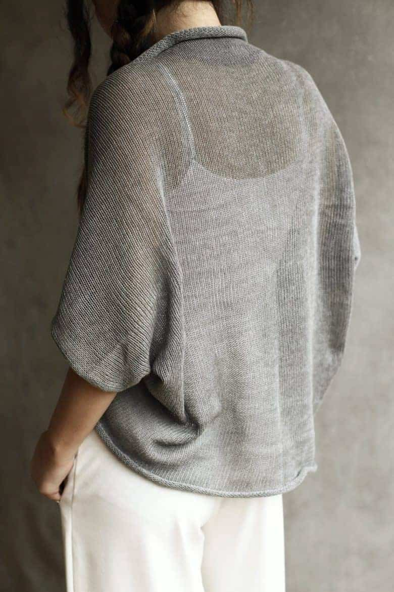 soft grey sheer handmade cotton cardigan shrug made in UK by Suzy Bonomini #cardigan #sheer #handmade #cotton #sustainable #frombritainwithlove