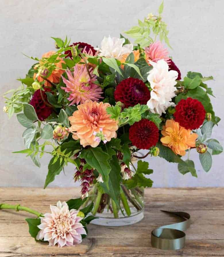 love this dahlia bouquet by The Real Flower company including cafe au lait dahlia and deep red, dusky orange as well as herbs and foliage all grown on their Hampshire farm. Click through to get all the info you need to send this beautiful british bouquet to someone special