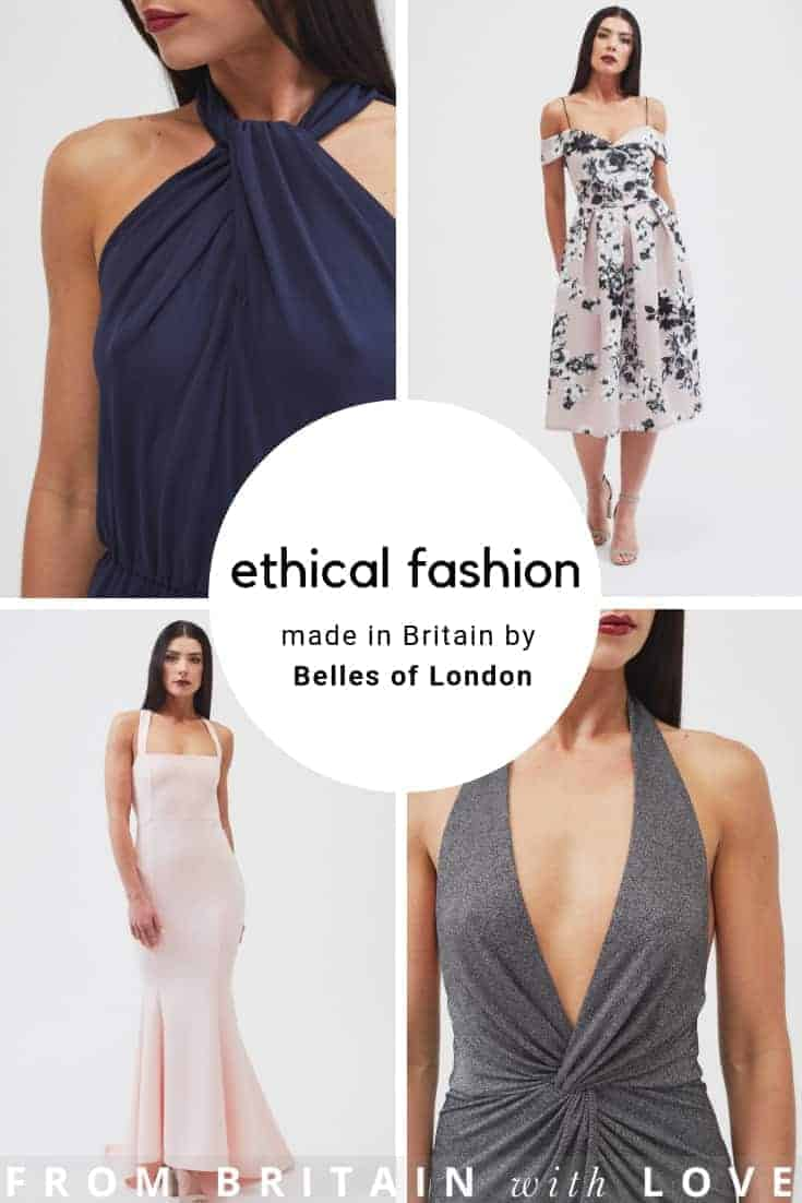 ethical british fashion made in UK by Belles of London. Click through to discover stunning dresses, jumpsuits, tailoring and more all ethically made with care in the UK #ethicalfashion #sustainablefashion #madeinuk #madeinbritain #frombritainwithlove #slowfashion