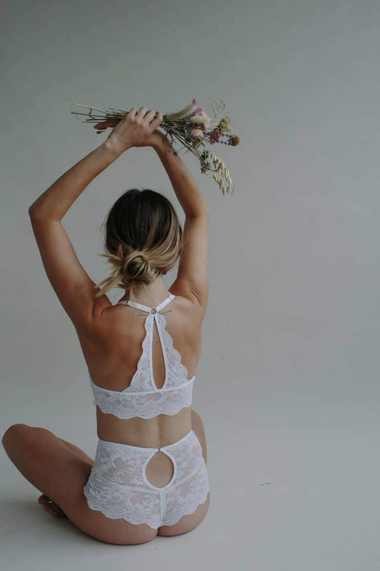 love this white lace bra and knicker lingerie set ethically hand made in UK using sustainably sourced materials #lingerie #handmade #lace #white #ethical #sustainable #frombritainwithlove