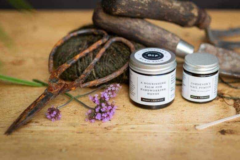 love this natural handmade gardener's hand balm by Denys & Fielding. The perfect gift idea for the gardener in your life for easing tired muscles from digging or weeding