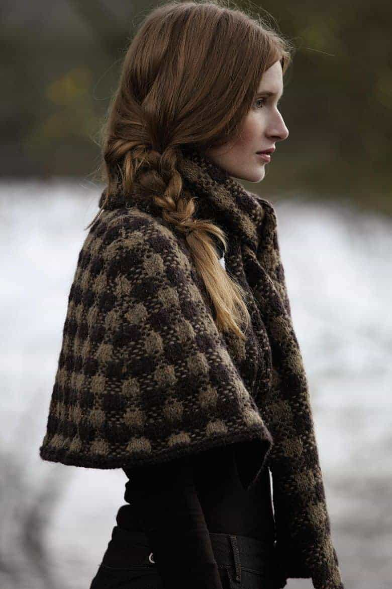 dhurrie cape knitting pattern rowan lisa richardson tweed brown check. NB: This pattern is not free, but you can buy it from Wool Warehouse #knitting #pattern #cape #rowan #frombritainwithlove