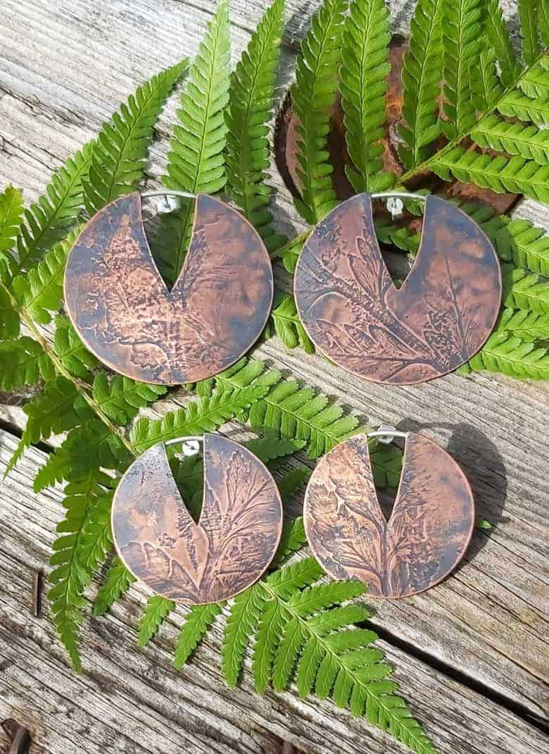copper imprinted earrings handmade ethical by these two hands for autumn
