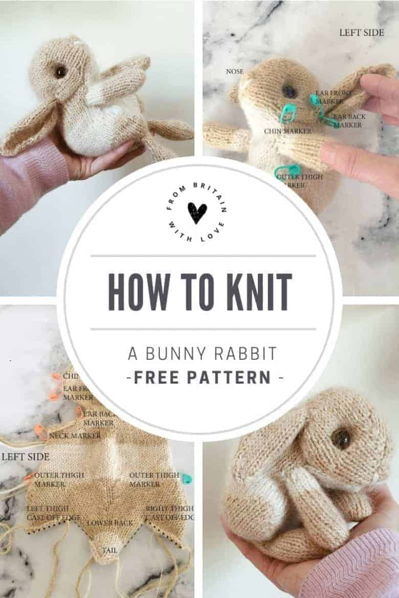 love this bunny rabbit free knitting pattern by Claire Garland of Dot Pebbles. Click through for details on how to knit a lamb with expert tips from Claire herself as well as other fantastic free knitting patterns you'll love to make #knittingpatterns #knittingprojects #imadethisrabbit #dotpebbles #frombritainwithlove #freepatterns