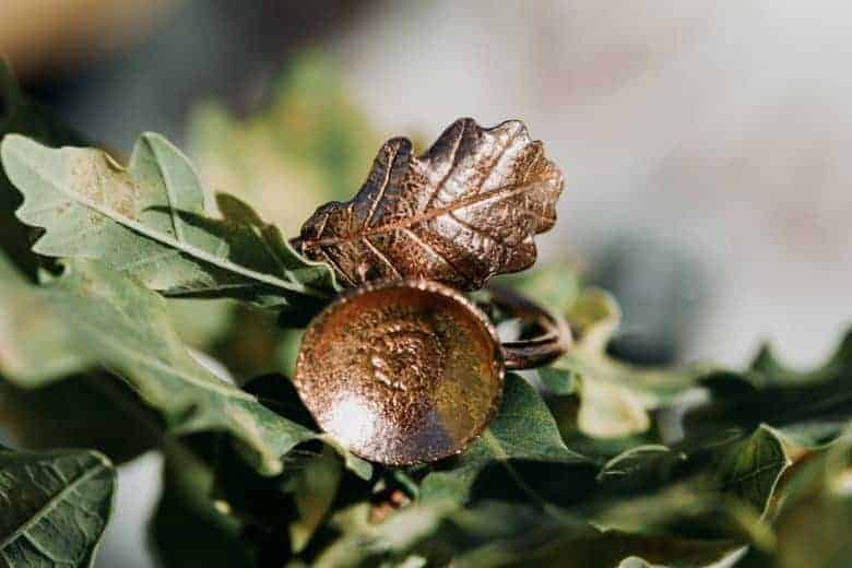 handmade acorn oak leaf ring handmade ethical by these two hands for autumn