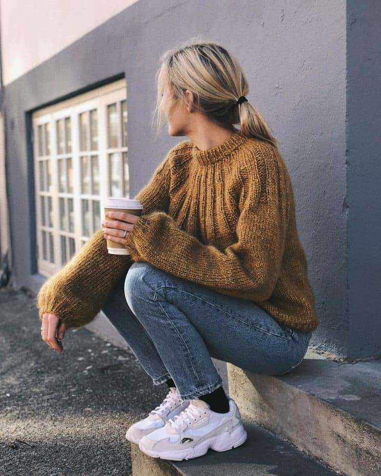 love this ribbed yoke sunday sweater knitting pattern by petite knits. click through to find out where to get the pattern as well as to discover lots of other free knitting pattern ideas for autumn #knittingpattern #knitting #pattern #petiteknit #frombritainwithlove #autumn