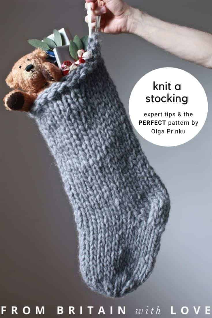 how to knit a christmas stocking - love this chunky stripy nordic style stocking knitting pattern by Olga Prinku with personalised name tag in leather. Get Olga's expert tips and links to the perfect knitting pattern #knitting #christmas #stocking #decorations #holiday #craft #tutorial #DIY #knittingpattern #frombritainwithlove
