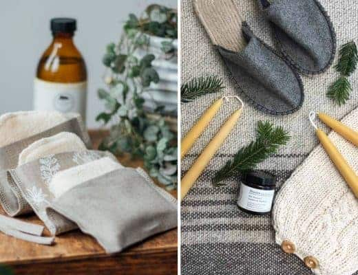handmade christmas gift ideas for women made in Britain. Click through to discover special ideas including linen aprons, hand knits, personalised notebooks, baubles, hand-crafted jewellery, ethical natural beauty and more #handmadegifts #giftsforwomen #frombritainwithlove #madeinbritain #christmas gifts