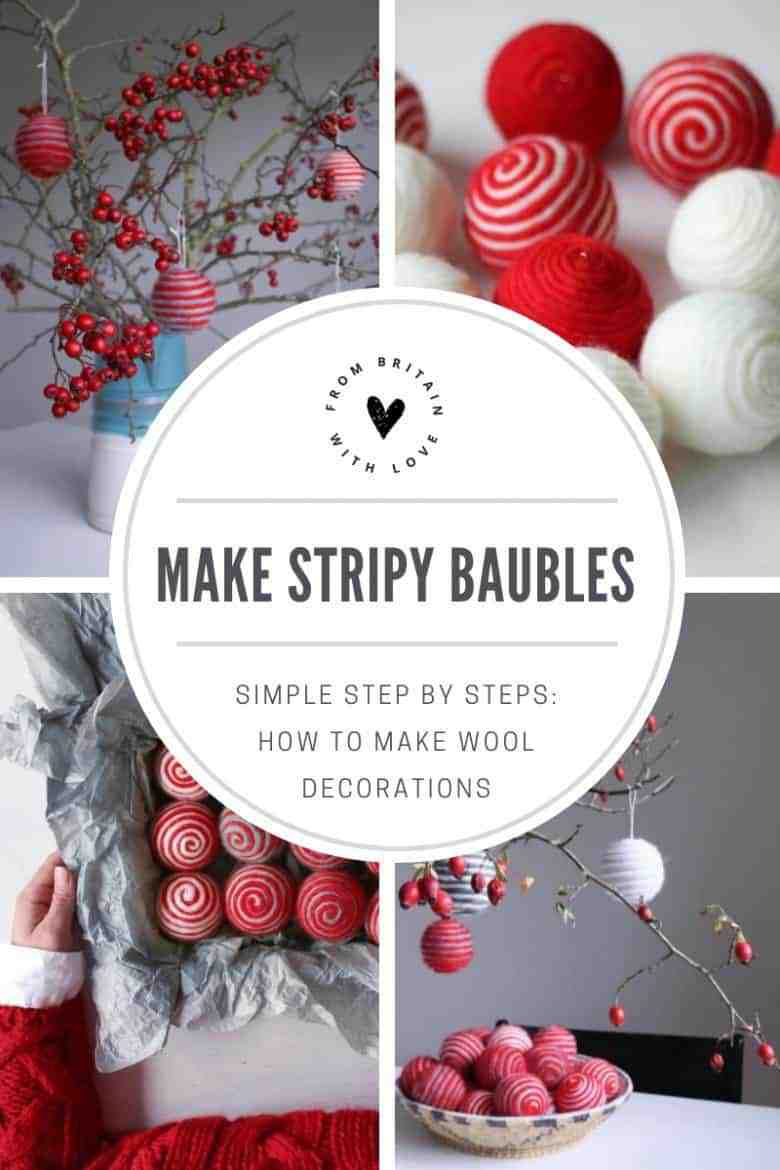 how to make stripy wool baubles. Click through for easy step by step tutorial to making these simple to make beautiful christmas decorations to love for years and years #make #bauble #stripy #wool #DIY #tutorial #craftychristmas #christmasdecorations