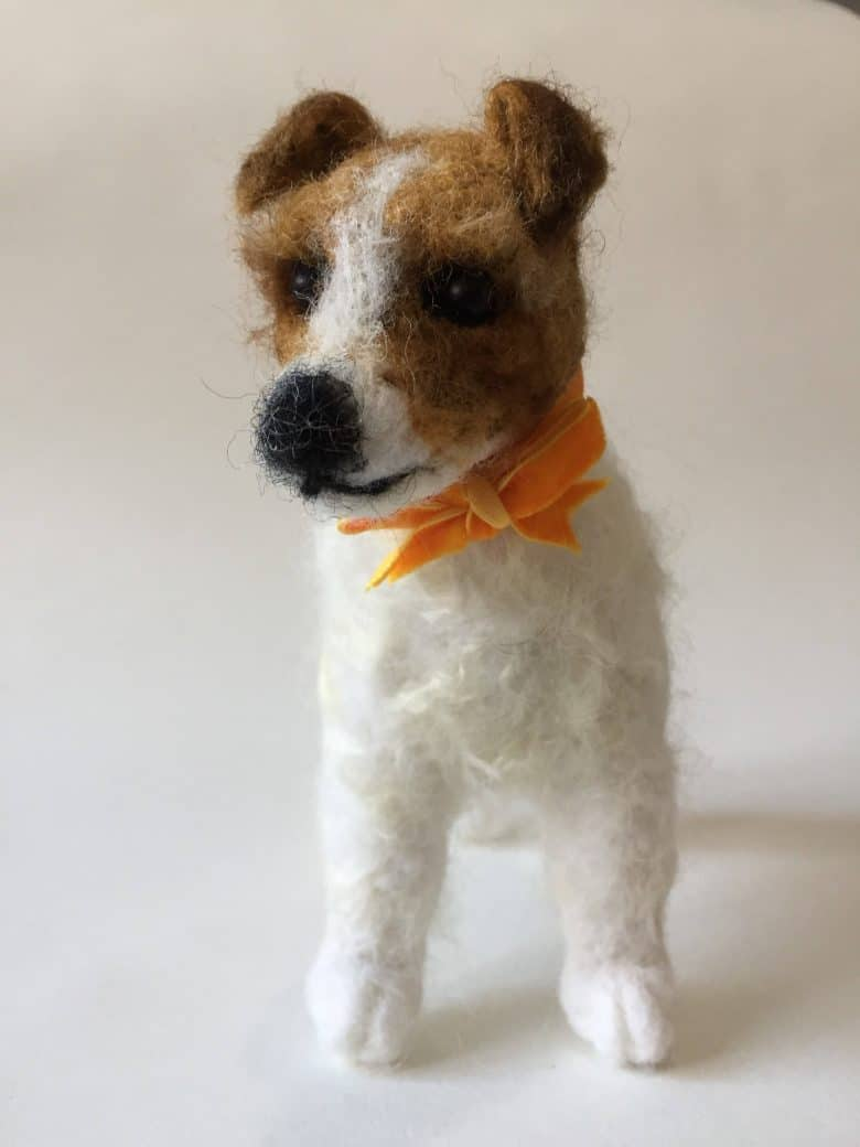 needle felted jack russell dog sculpture by emma herian. handmade christmas gift ideas for women made in Britain. Click through to discover other special ideas linen aprons, hand knits, personalised notebooks, baubles, hand-crafted jewellery, ethical natural beauty and more #handmadegifts #giftsforwomen #frombritainwithlove #madeinbritain #christmas gifts