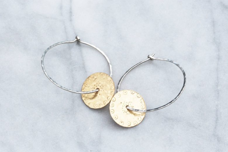 handmade silver and gold hoop earrings handmade by Oorla Jewellery. handmade christmas gift ideas for women made in Britain. Click through to discover other special ideas linen aprons, hand knits, personalised notebooks, baubles, hand-crafted jewellery, ethical natural beauty and more #handmadegifts #giftsforwomen #frombritainwithlove #madeinbritain #christmas gifts