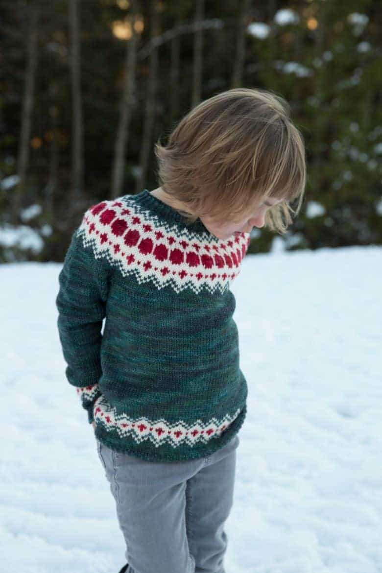 fairisle colourwork christmas jumper knitting pattern children and adults by tin can knits. Click through to get all the info you need to buy this pattern as well as some truly beautiful free patterns too #fairisle #knitting #pattern #christmas #jumper