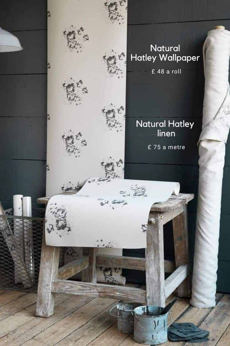 love this natural hatley charcoal grey black floral print on wallpaper and furnishing linen by cabbages & roses #cabbagesandroses