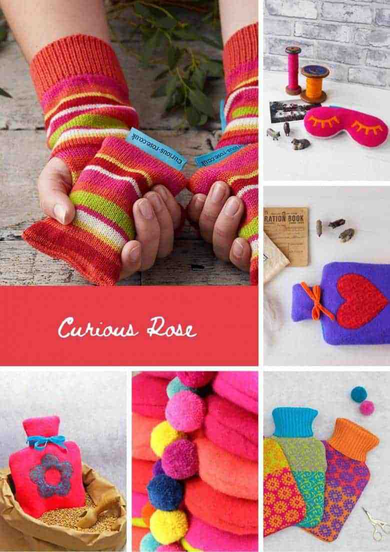 curious rose hot water bottles wheat bags and eye masks handmade using upcycled and new wool and lambswool