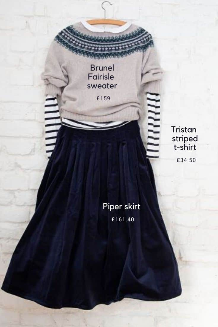 love this blue and beige fairisle sweater with blue and white striped breton top and navy blue velvet skirt made in england by Cabbages & Roses #bretonstripe #sustainablefashion #slowfashion #madeinengland #navyblue #cabbagesandroses