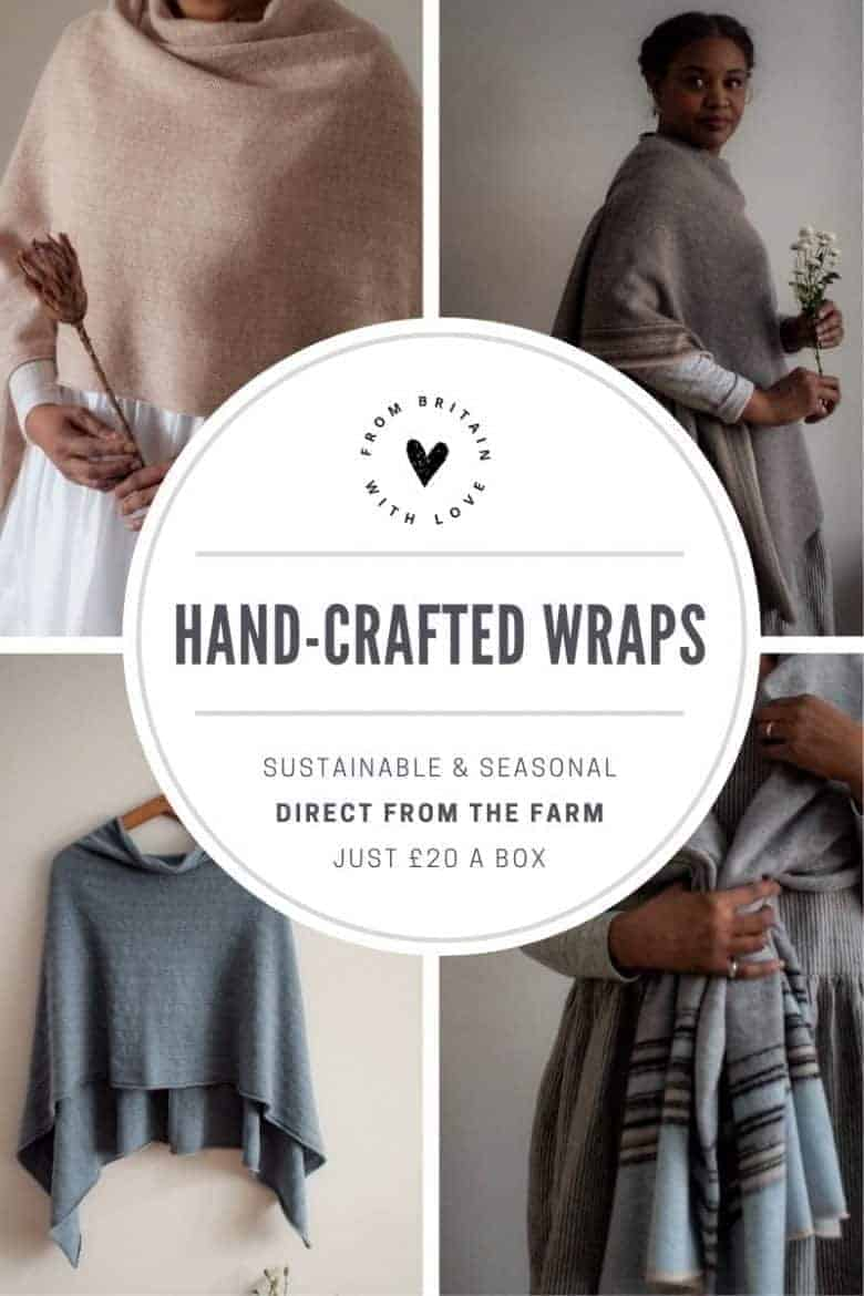 hand crafted wool wraps and scarves by jules hogan knitwear made to order in sustainable yorkshire wool in jules' berkshire garden studio in soft landscape-inspired colours and her signature stripe