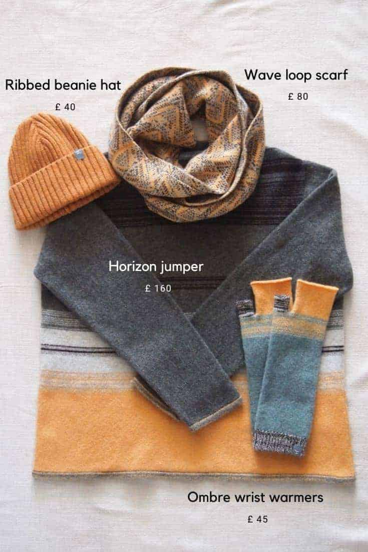 love this grey and yellow striped wool jumper and matching wrist warmers, scarf and beanie hat by jules hogan hand crafted british knitwear