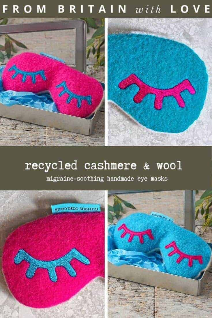 recycled cashmere migraine eyemask handmade in the UK with British wheat, pure wool on the front side and super soft recycled cashmere underneath in bright colours- ready to microwave until warm or frozen to help ease migraines and headaches #recyled #cashmere #eyemask #migraine