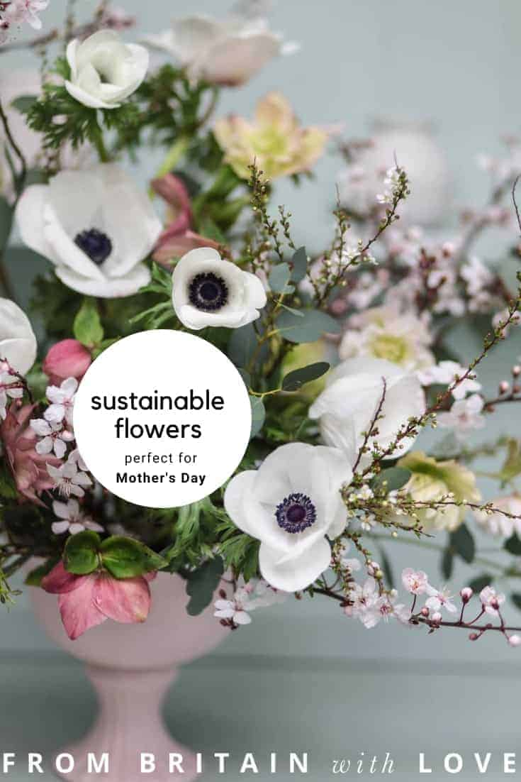 love this mother's day bouquet of sustainably grown anemone, blossom, hellebores and spirea, flowers by green and gorgeous #mothersday #flowers #sustainable #britishflowers