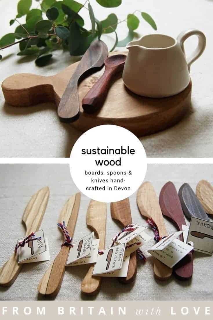 sustainable wood boards hand-crafted in Devon by Rosie Brewer using FSC certified sustainable timber also hand-carved wood butter knives and spoons #wood #boards #chopping #sustainable #madeindevon #eco