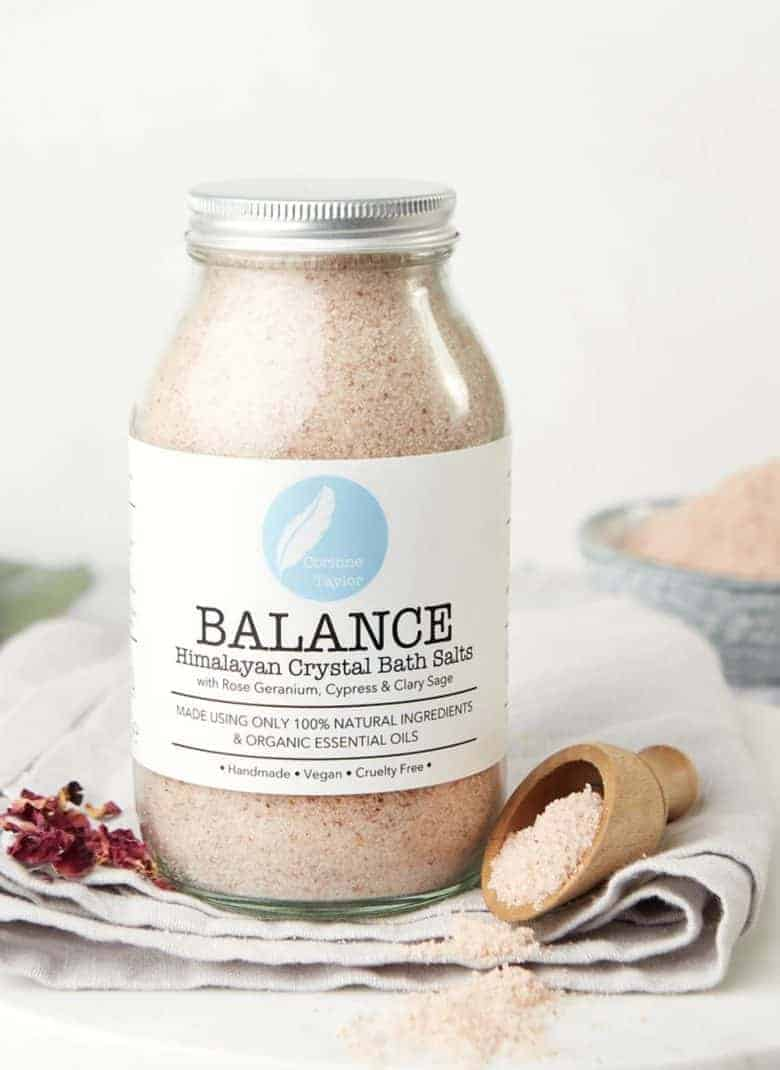 balancing aromatherapy bath salts by corinne taylor - handmade in Brighton by trained aromatherapist using natural, organic ingredients and pure, therapeutic essential oils #bath #salts #aromatherapy #balancing