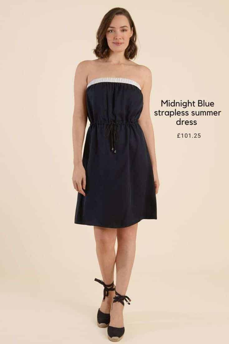 midnight blue strapless summer dress with white trim. Ethically made in London using sustainable fabrics #sustainable #fashion #summerdress #paleblue #babyblue #stripes