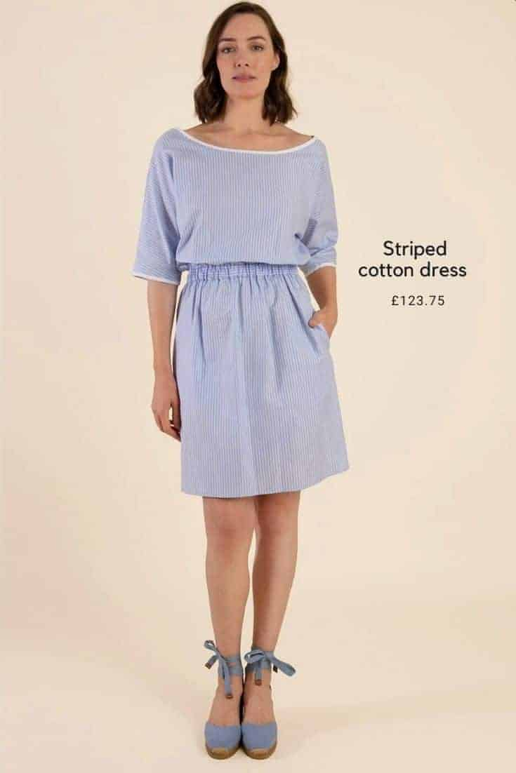 pale blue and white stripe cotton summer dress with three quarter sleeves and bateau neckline. Ethically made in London using sustainable fabrics #sustainable #fashion #summerdress #paleblue #babyblue #stripes