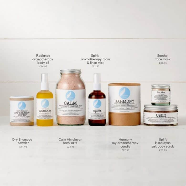 corinne taylor natural organic aromatherapy beauty, bath salts, candle, linen spray, dry shampoo and more