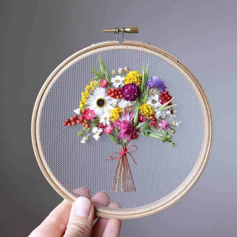dried flower embroidery hoop art by olga prinku step by steps and video tutorials to give you ideas #driedflowers #embroidery #hoop #DIY #frombritainwithlove