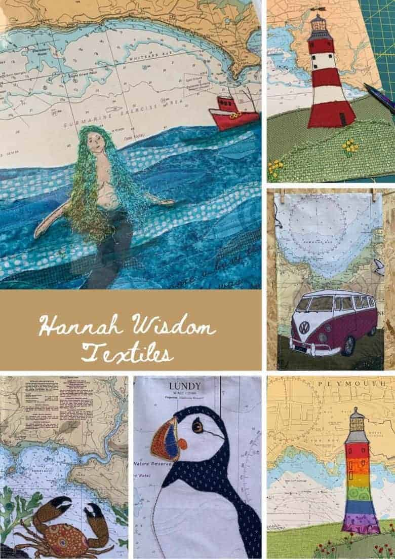 hannah wisdom textiles using admiralty maps and reycled fabrics to create embroidered artworks, quilts and tea towels