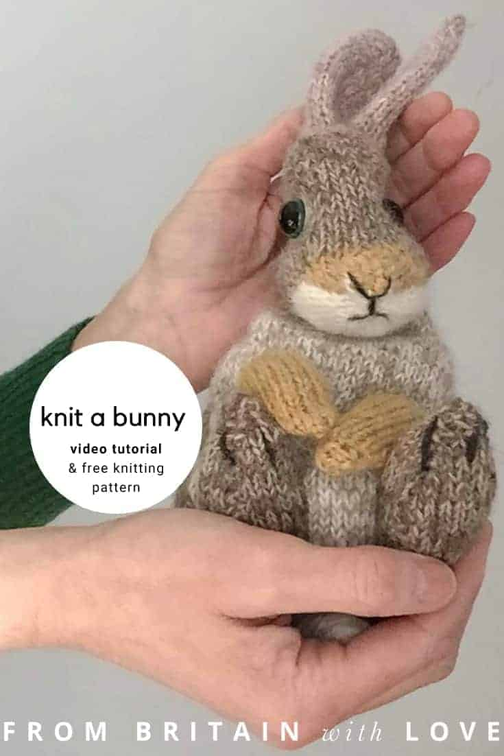 knit an easter bunny video tutorial and free knitting pattern. Click through for free video tutorial showing you how to make up your knitted rabbit as well as a free knitting pattern to make a knitted easter bunny rabbit. Click through to get tips and all the info you need to make your own #video #tutorial #easterbunny #knittingpattern #knittingideas #easter #bunnyrabbits #tutorial #freeknittingpattern #frombritainwithlove