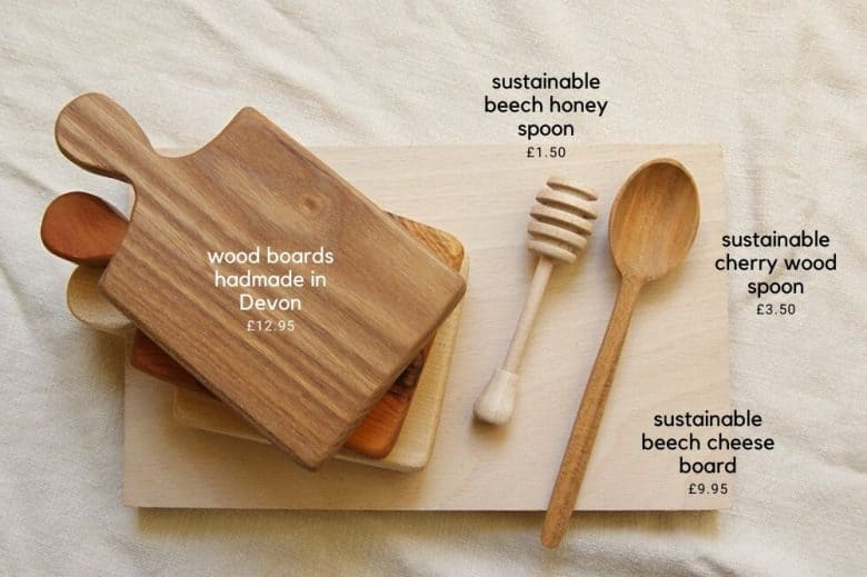 sustainable wood chopping board, cherry wood spoon and honey spurtle by la juniper made in Britain