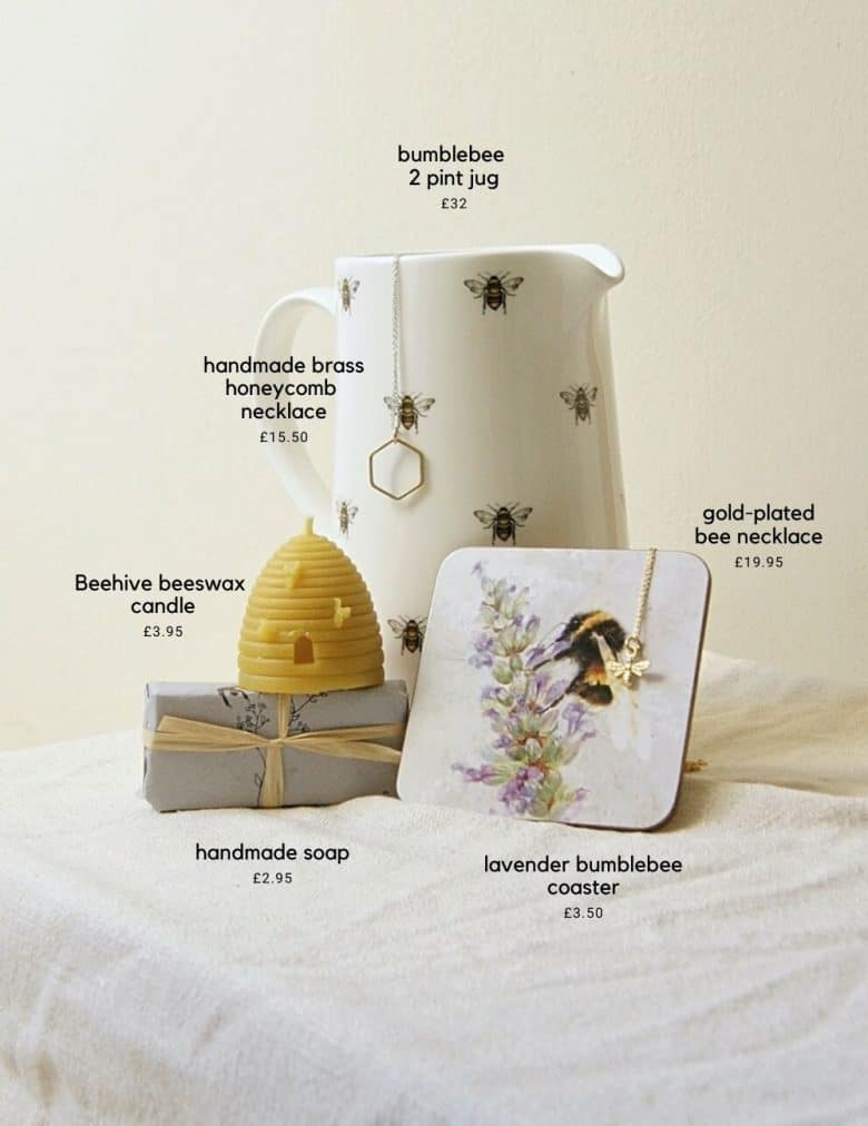 la juniper bumble bee jug, beeswax candle bee necklace and bee soap