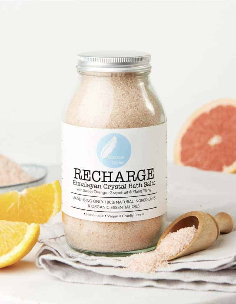 recharge aromatherapy bath salts by corinne taylor - handmade in Brighton by trained aromatherapist using natural, organic ingredients and pure, therapeutic essential oils #bath #salts #aromatherapy #recharge