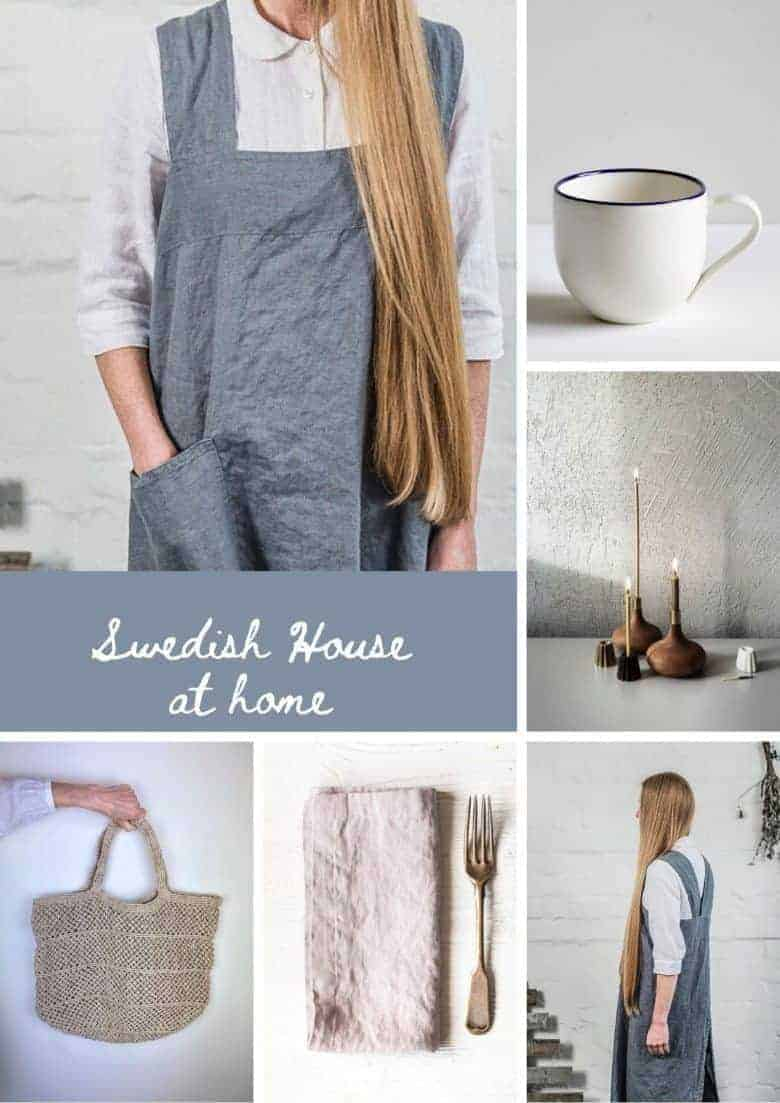 swedish house linen aprons, jute bags, linen napkins, ceramics and wood by swedish house at home scandi interiors and gifts