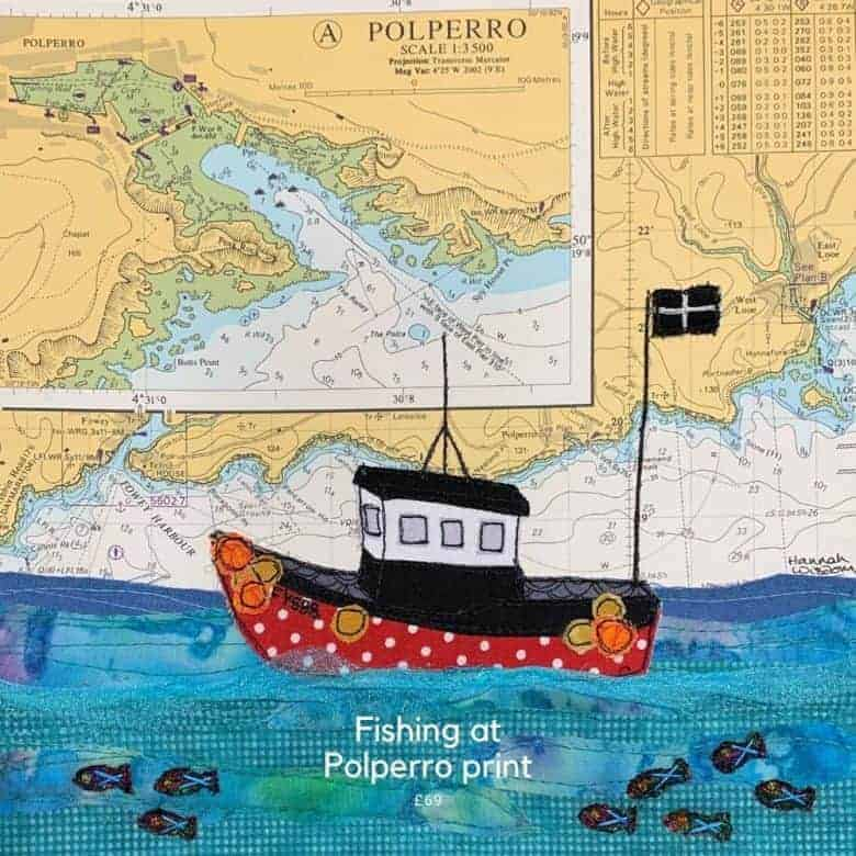 fishing boat at polperro print hannah wisdom