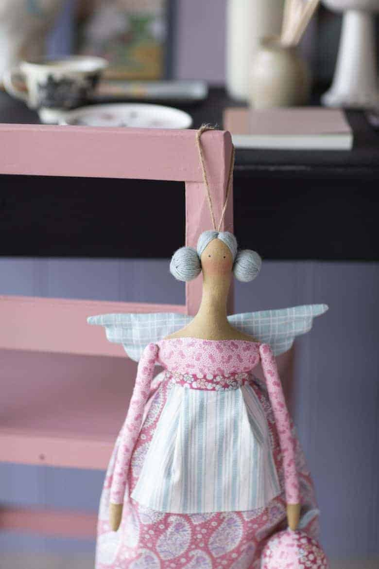 tilda doll autumn angel made using fabrics from the plum garden collection #tilda #doll #plumgarden #angel #frombritainwithlove